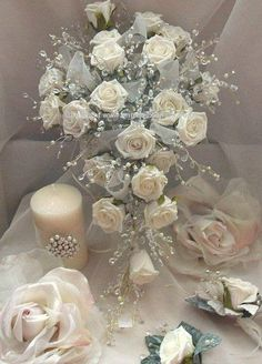 Rose Crystal and Pearl trailing Bouquet by AngelsWeddings on Etsy