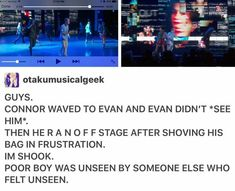 Read Not really a meme. but I'm shook from the story Dear Evan Hansen Memes by SuperObsessedKatie (TreeBros Lover) with 573 reads. Theatre Nerds, Musical Theatre, Theatre Jokes, Dear Evan Hansen Musical, Dear Evan Hansen Funny, Dear Evan Hansen Connor, Evan And Connor, Dear Even Hansen, Connor Murphy