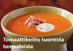 Tomaattikeitto tuoreista tomaateista, Resepti: Arla #kauppahalli24 #resepti #tomaattikeitto #tomaatti #arla #ruokaanetistä #verkkoruokakauppa