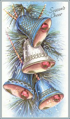 Season's Cheer - Blue, pink and white Christmas bells - vintage holiday card Old Time Christmas, Old Fashioned Christmas, Christmas Scenes, Christmas Past, Christmas Bells, Christmas Greetings, Christmas Holidays, Christmas Crafts, Vintage Christmas Images