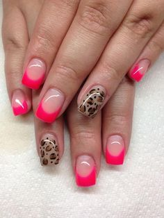 ♥ High Gloss PInk-Tipped French Manicure Gel Nails with Leopard/Cheetah Print Accents ♥