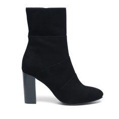 Korte suède laarzen met hak zwart
