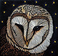 Barn Owl, Lisa Brawn, painted woodcut block on salvaged Douglas Fir it shows how bold lines can really pay off Woodcut Art, Linocut Prints, Art Prints, Block Prints, Owl Art, Bird Art, Art Visage, Foto Gif, Desenho Tattoo