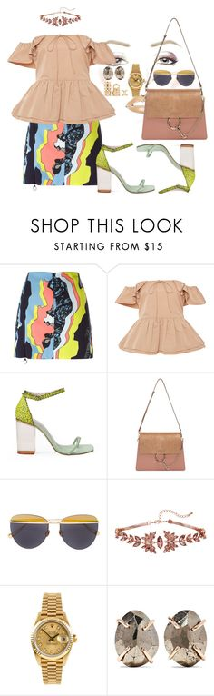 """millennial boss"" by fashion-is-my-passion-14 on Polyvore featuring Versace, Rochas, Opening Ceremony, Chloé, Sunday Somewhere, Rolex, Melissa Joy Manning and Forever 21"