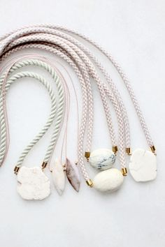 Natural marble, magnesite and opal necklaces