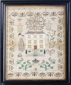 NEEDLEWORK SAMPLER BY BETTY BARBER, 1817. Silk threads worked on linen, the maker's inscription 'Betty Barber's/ Work September/ The 18 In The/ Year 1817 Worked/ With Mrs. Lee Withington' within a vine wreath above pictorial depicting a woman in a striped dress with sash holding a nosegay, a house with dogs and trees in the front yard and parrot tulips to the right, above a basket of fruit and trees with perched birds within a border of meadering vinery, bees and flowers, 20 1/2 x 16 1/2…