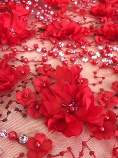 Luxury 3D red flower lace fabric perl beaded by ImperialLingerie