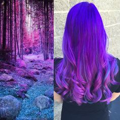 Inspired Purple Color Melt Into the Woods Purple Hair color design by Christina Dossola vivid hair neon hair violet hair /hotbeautymagazine Cute Hair Colors, Pretty Hair Color, Bright Hair Colors, Beautiful Hair Color, Hair Color Purple, Hair Dye Colors, Colourful Hair, Purple Tips, Bright Purple Hair