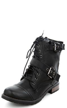 Battle01 Flat Combat Laced Ankle Boots BLACK