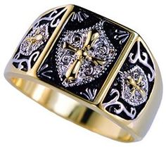 Two Tone Knight's Templar Crest Men's Ring 18K Gold overlay Size 15 / Mens Jewelry  Site: Project Fellowship