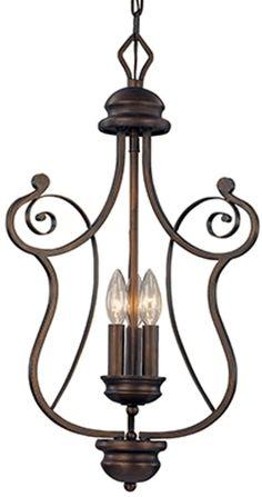"Bronze Iron Chandelier Graceful Harp Scroll Design 3 Lights 15""Wx24""H"