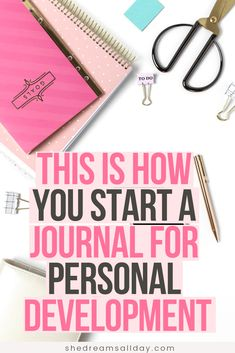 How to start a journal for beginners. A complete step by step tutorial on how to start a journal for personal development. Journaling can help you become more productive, creative, increase mental health and happiness. It's awesome. Start a journal TODAY! Personal Development Books, Self Development, Journal Prompts, Writing Prompts, Daily Journal, Work Journal, Journal Ideas, Journal Quotidien, Types Of Journals
