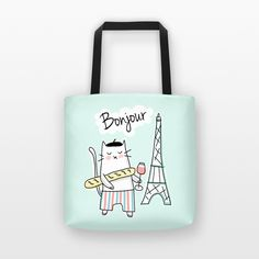 Tote Bag - French Cat - Bonjour Paris - Available in Blue, Pink, Green or Yellow - reusable grocery bag, shopping tote bag, market bag, eco bag, shopping bag, shopper bag, shoulder bag, cute tote bag, funny tote bag, unique tote bag, fun tote bag, cat tote bag, cat bag, french tote bag, paris tote bag, paris bag, bonjour, eiffel tower, wine, bread, cat lover gift, paris lover gift - By HAPPY CAT PRINTS
