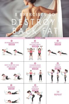 Get rid of your lower back fat. 8 exercises to get rid of lower back fat for wom. - Get rid of your lower back fat. 8 exercises to get rid of lower back fat for women. This exercise g - Fitness Studio Training, Cardio Training, Training Exercises, Weight Training, Fitness Workout For Women, Yoga Fitness, Fitness Games, Fitness Logo, Kids Fitness