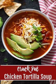 The best Crock Pot Chicken Tortilla Soup that only takes 15 minutes to prepare! Made with tender shredded chicken, black beans, sweet corn, and fresh zucchini, this vegetable based tortilla soup recipe is both healthy and delicious. Makes for the perfect weeknight meal! #tortillasoup #chickentortillasoup #crockpot #RecipesWorthRepeating | recipesworthrepeating.com