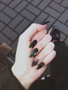 127 awesome acrylic coffin nails designs in summer -page 14 > Homemytri.Com – Nails art Goth Nails, Edgy Nails, Grunge Nails, Stylish Nails, Swag Nails, Black Acrylic Nails, Best Acrylic Nails, Stiletto Nail Art, Black Acrylics