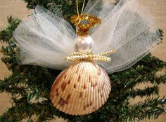 Seashell Angel Christmas Ornament Sea Shells by CraftySueShop