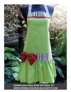 Sew Much Good: Free Bow Pattern, pdf Sewing Hacks, Sewing Crafts, Sewing Projects, Sewing Ideas, Sewing Tips, Craft Projects, Apron Pattern Free, Bow Pattern, Dress Patterns