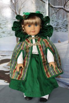 American Girl Doll Clothes -- Victorian Style Christmas Cape & Skirt in Silk and Gibson Girl Style Blouse with Vintage Lace