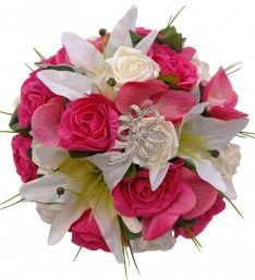 Cerise Orchid & Rose, Ivory Lily Bridal Booch Wedding Bouquet