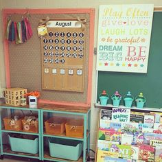 Check out this calendar area in @firstgradekathleen \'s classroom. I love the sign on her board too. Such a positive place for students to learn. #earlycorelearning