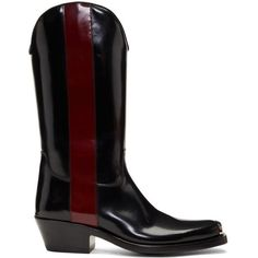 Calvin Klein 205W39NYC Black and Red Ed Western Boots (€1.255) ❤ liked on Polyvore featuring men's fashion, men's shoes, men's boots, black, mens black leather boots, mens leather boots, mens cuban heel boots, cuban heels mens shoes and mens black square toe boots