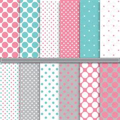 Aqua & Pink Polka Dot Digital Paper by YenzArtHaut on Creative Market
