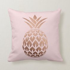 Elegant copper rose gold pink pineapple throw pillow | Zazzle.com Bedroom Decor For Teen Girls, Room Ideas Bedroom, Teen Girl Bedrooms, Bed Room, Tween Room Ideas, Gold Pillows, Cute Pillows, Pink Throw Pillows, Colorful Pillows