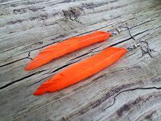 Orange Feather Earrings - Feather Earrings - Feather Jewelry - Nature Jewelry - Natural Jewelry - Dyed Feather Jewelry on Etsy, $8.00