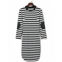 Choies Monochrome Stripe Print Long Sleeve Bodycon Mini Dress ($15) ❤ liked on Polyvore featuring dresses, black, longsleeve dress, mini dress, striped bodycon dress, long sleeve body con dress and short dresses