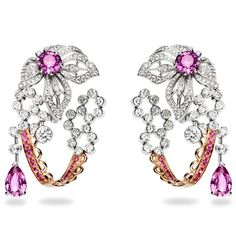 Earrings in white and pink gold set with brilliant -cut diamonds and fancy-cut pink sapphires High Jewelry, Luxury Jewelry, Jewelry Stores, Piaget Jewelry, Diamond Jewelry, Gold Set, Diamond Are A Girls Best Friend, Crystal Earrings, Statement Earrings
