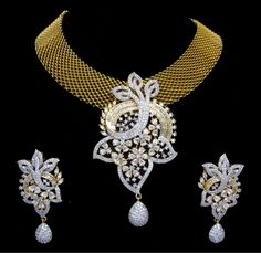 Indian CZ AD Gold & Silver Bollywood Gorgeous Necklace Bridal Swam Jewelry 568 #Unbranded
