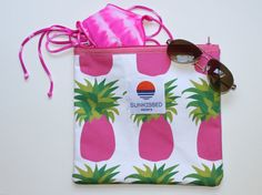 Pineapple Bikini Bag Wet Bag Beach Pouch by SunkissedCollector