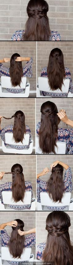 This style can work for any type of hair from short to long and straight to curly!: