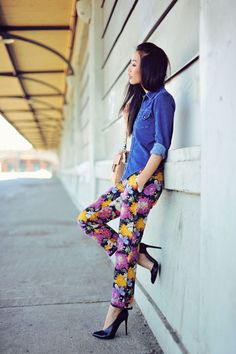 how to sport a printed pant