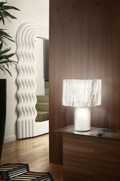 The Accordéon Table lamp has dual switches, one for the shade and another for the base. Both light sources can be used together, Table Lamp, Flooring, Mirror Mirror, Lighting, Grande, Wall, Design, Home Decor, Lamp Table
