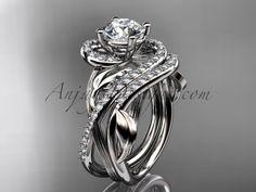 Unique platinum diamond leaf and vine wedding set, engagement set ADLR222 Price $3,295.00