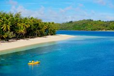 Spend a #day at our #private, #pristine #beach on our #island, Nanuya Lailai  (4 and 7 night #cruises). #Fiji #Princess will tie off from a #coconut tree and you can spend the day on the beach enjoying the many #activities on offer including #kayaking. Book a Blue Lagoon Cruise.