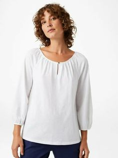 White Stuff Green Cotton Jersey long Sleeves Scoop neck Shirt Blouse Tee 6 10 16