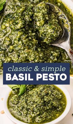 This Classic Basil Pesto recipe is made in just 15 minutes with plenty of fresh basil, parsley, pine nuts, garlic, olive oil and Parmesan cheese. Perfect on pasta, sandwiches, drizzled over veggies or pizza, stirred into Alfredo sauce, used in soups, and more! #pesto #sauce #Italian