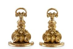 "Pair of Brass Bookends | One Kings Lane | 8.25""h 