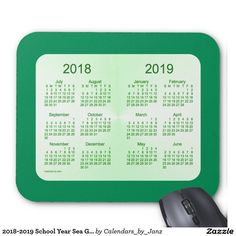 2018-2019 School Year Sea Green Calendar by Janz Mouse Pad