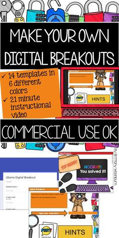 14 templates in 6 different colors plus a 21 minute instructional video. Everything you need to make your own digital breakouts for any topic and any grade level. I've even included a list of my favorite digital tools for making breakout puzzles.