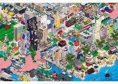 EBOY MIAMI  PIxel art  121cmx80cm Affiche laminée sur bois - Finition glossy