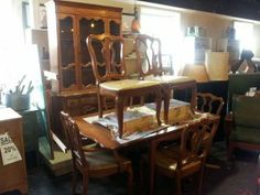 SOLD - TomeTraders.com - Solid Wood Maple Set Drop-Leaf Table, Chairs, and Hutch