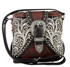 New Montana West® Concealed Carry, Embroidery Longhorn Buckle Messenger -Coffee