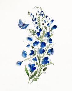 Here is a giclee Art Print of my original watercolor painting. Flowers and butterflys go together!  Choose your size of art work from the drop down menu to the right.  This is a high quality print. We use archival inks with a professional giclee printer. The paper is Velvet Fine Art and is acid-free. Giclee prints will retain brilliant  colors and extreme detail for 100 years in average home conditions. The paper is a high quality watercolor print paper made especially for giclee printing…