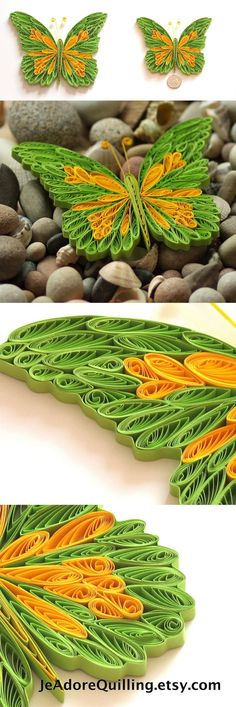 Butterfly Green Yellow Colorful Bright Gift Christmas Wedding Mothers Valentines Day Home Decoration Idea Paper Quilling Quilled Art