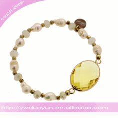 real Pearl big crystal bracelets brass /crystal/pearl Fashion