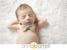 bowtie prop in posed newborn shot